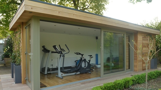 Multi room garden buildings boost space and practicality for Garden shed gym