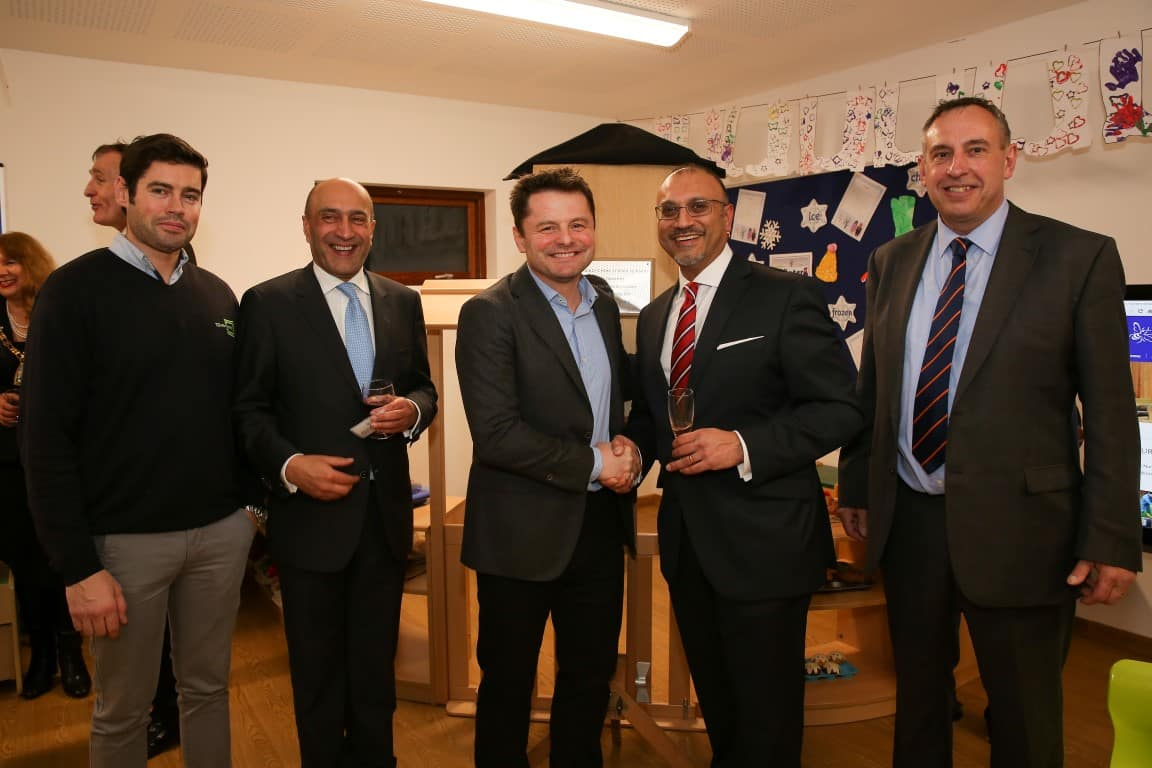 Chris Hollins BBC TV presenter opens the eco-nursery by TG Escapes at Bickley Park School