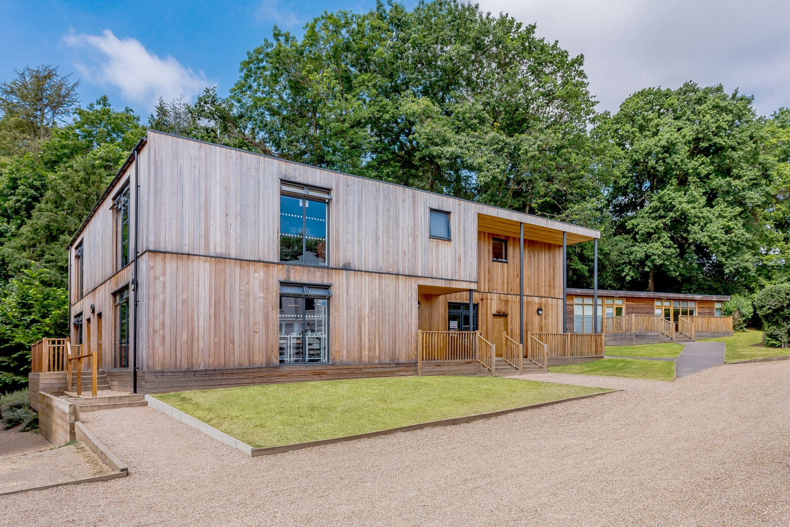 Modular timber frame 2 storey eco classrooms at Claremont Fan School by TGEscapes