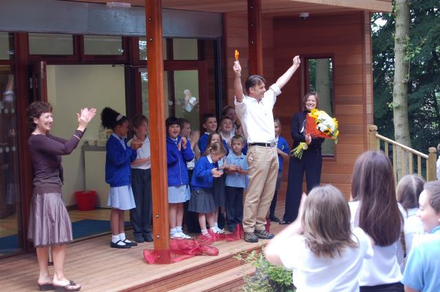 Chris Packham opens eco outdoor classroom by The Learning Escape