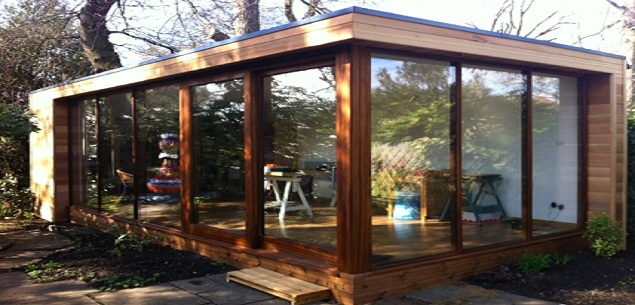 A bright garden studio replaces a dull garden shed the for Garden shed gym