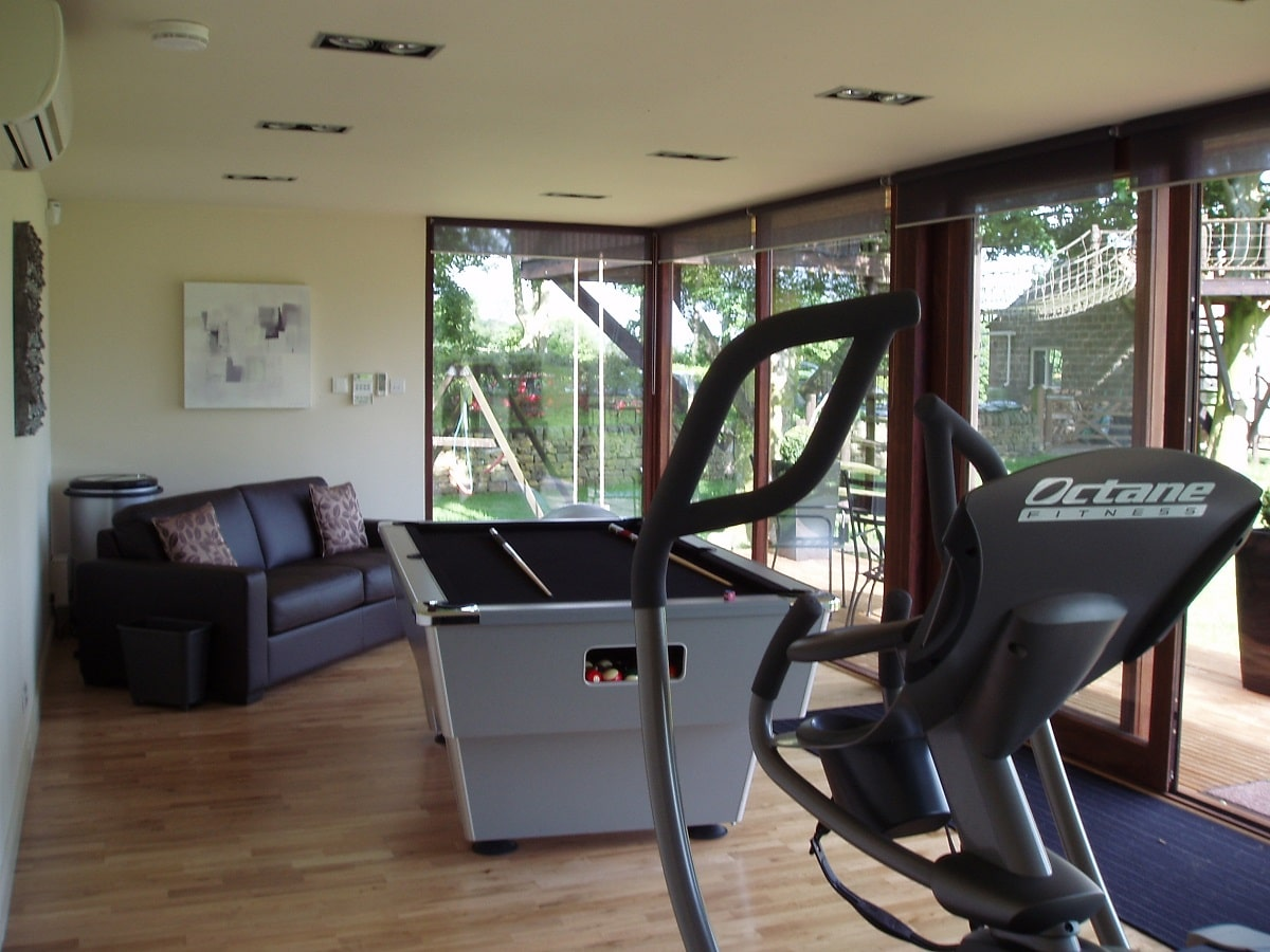 Garden gym with pool table