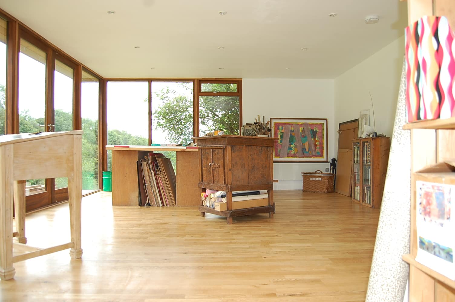 Inside a garden room art studio
