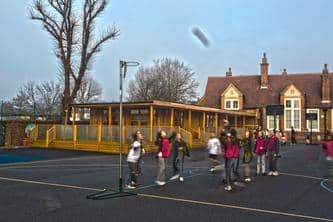 Children in the Playground near their Eco Classroom at Dulwich School - The Learning Escape
