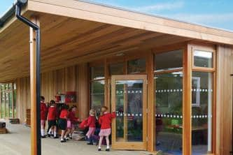 Children on the Decking of Their Eco Classroom at Cherry Orchard School in Worcester by The Learning Escape