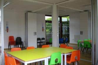 Acoustic Folding Wall System in the Eco Classroom at Lawnside School by The Learning Escape