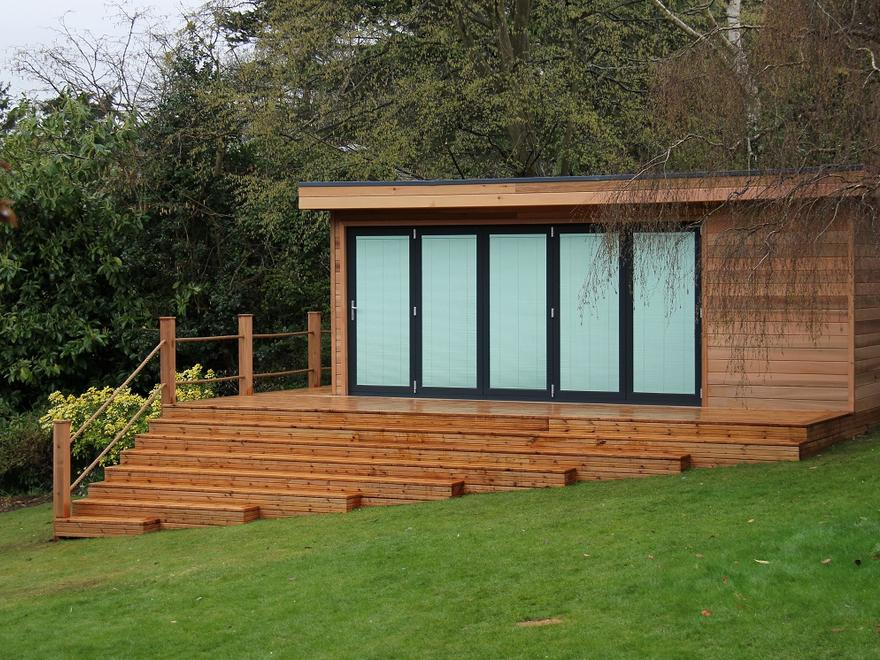 Eco-garden room in Hertfordshire on steep slope by The Garden Escape