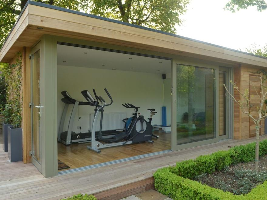 Personal garden gym outdoor gym buildings uk exercise for Designs for garden rooms