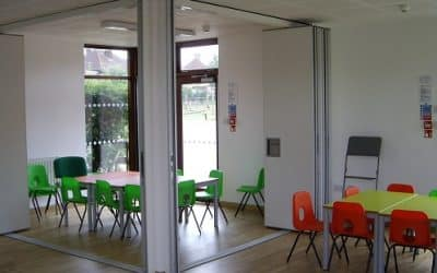 Create a more flexible learning space with folding partitions