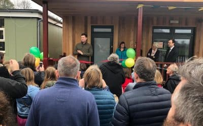 George Clarke cuts the ribbon for eco-classroom at North Nibley